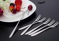 Wholesale Flatware Forks - Stainless steel dessert cake fruit forks tableware household for party flatware