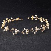 ingrosso gioielli della fascia di fronte-Splendida collana fatta a mano Diademi donne gioielli di cristallo perla fronte ornamenti per capelli fascia di Rhineston accessori da sposa corona nuziale