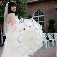 Wholesale Long Handled Lace Parasols - Cotton embroidery Antique lace umbrella for wedding bride & bridesmaid photo props 12pcs lot Free shipping wholesales
