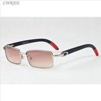 Wholesale Cheap Square Sunglasses For Men - 2017 wooden sunglasses for mens luxury brand designer polairzed sunglasses full rimless cheap designer buffalo horn glasses with box