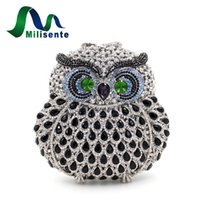 Vente en gros - Milisente New Luxury Crystal Women Owl Clutch Handbag Lady Evening Bag Chaîne Crossbody Girls Party Or Argent Noir Rose