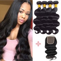 Wholesale Natural Hair Ponytail Piece - Unprocessed Brazilian Body Wave Human Hair Wefts 4 bundles with Closure Peruvian Malaysian Indian Remy Ponytail Hair Extensions New Arrival