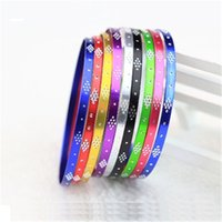 Wholesale Wholesale Engraved Bracelet Charms - Fashion Women Colorful Silver Charm Bangle Alloy Metal Bracelet Engraved Round Bangles Candy Colors Bracelets Dress decoration Jewelry