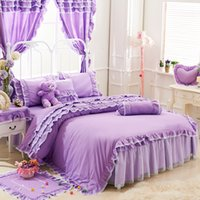 Wholesale Duvet Cover Sets Girl - Bed skirt bedding set Cotton Duvet cover set Romantic Princess girls bed sheet bedding for Children and women