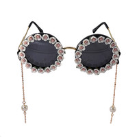 Wholesale Pearl Frame Round - New Design Fashion Statement Colorful Flower Summmer Beach Sunglass Women Handmade Flower Holiday Gifts Pearl Golden Chain Sun Glasses