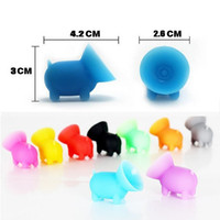 Wholesale Pigs Shapes - 2017 universal Cute pig shape colored Silicon phone holder cell phone holder seat lazy phone holder For Iphone Samsung Ipad sony tablet