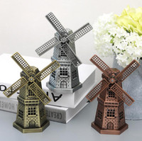 Wholesale Metal Craft Models - Free ship Creative Home metal handiwork European style living room decoration furnishing articles Holland windmill model artware crafts 3pcs