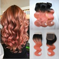 Wholesale Human Hair Roses - #1B Rose Gold Body Wave Peruvian Human Hair Weave With Bundles 4*4 Ombre Lace Closure With Bundles Dark Root Pink Ombre Hair Extension