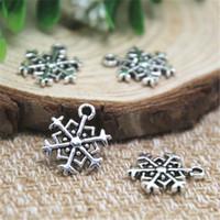 Wholesale Silver Plated Snowflake - 25pcs--Snowflake Charms, Antique Tibetan Silver Beautiful Design 2 Sided Snowflake Charm pendants 14x18mm