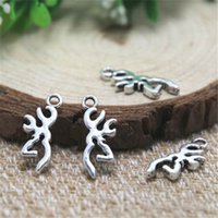 ingrosso antlers cervi antlers-30pcs-- charms silhouette cervi testa, antico argento tibetano cervi antlers pendenti charms 22x9mm