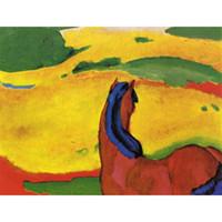 pinturas abstractas caballos al por mayor-Pinturas al óleo hechas a mano por Franz Marc Horse en un paisaje arte abstracto animal Decoración de pared de alta calidad