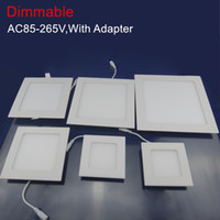 Wholesale Downlight Adapter - LED Downlight 9W 12W 15W 18W 25W 110-220V Brightness Adjust Dimmable Ceiling LED Panel Light With Power Adapter