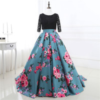 Wholesale two piece lace top prom dress - In Stock Two Stones Prom Dresses Print Flowers Ball Gowns Three Quarter Sleeve Lace Top Evening Gowns