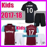 Wholesale Noble Child - Kids set 2017 2018 West ham united soccer jerseys 17 18 CARROLL NOBLE CHICHARITO child youth home away football jersey shirt