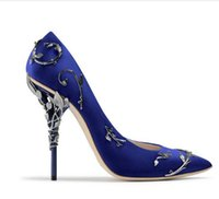 Wholesale Sexy Satin Shoes - Haute Couture women Eden Heel Pump Ornate Filigree Leaf Luxury high heels Pointed toe sexy women wedding shoes 2017