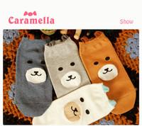 Wholesale Acrylic Teddy Bears - Wholesale-caramella brand socks, cotton Teddy Bear wild women shallow mouth solid color socks, lace boot socks Free International Shipping