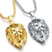 Frigaro Chain Hiphop Lion Head Pendant Necklace Para Homens Jóias Mulheres Iced Out Hip Hop Silver Gold Long Necklaces
