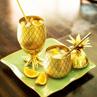 750ml Moscow Pineapple Tumbler Mug Available Gold Rose Gold manual electroplating brass Cocktail Drinking Mugs Bar Tool Stainless steel DHL