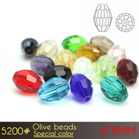 Wholesale Crystal Seed Beads - Olive facets glass curtain Beads 6x8mm Special color A5200 72pcs set crystal seed beads with top quality