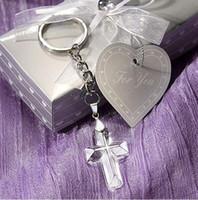 baby dusche europa groihandel-Crystal Cross Schlüsselbund Baby Dusche Geschenk Party Dekoration Europa religiöse Geschenke Kristall Anhänger mit schönen Paket