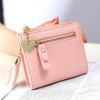 Wholesale Cute Pink Wallets - Small Tassel Women Purse Female Mini Wallet Multifunction Women Coin Purse Zipper Cute Brand Money Change Wallet