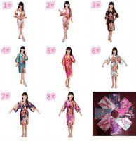 Wholesale Lingerie Girl Children - 8 colors kids rose flower silk Robe girl children Satin Pajama Lingerie Sleepwear Kimono Bath Gown pjs Nightgown M031