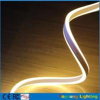 néon lumières latérales achat en gros de-Meilleure vente 20m bobine 8 * 18mm étanche IP75 blanc chaud double face émettant des néons mini flexible led bande néon 110V 220V