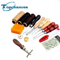 Wholesale Crafts Sew - Wholesale-High Quality 14Pcs Set Leather Craft Hand Stitching Sewing Tool Thread Awl Waxed Thimble Kit free shipping