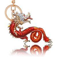 Wholesale pendant charm holder - Animal Enamel Keychains Pendant Key Chain Crystal Keychain Dragon Car Gold Key Chain Bag Charms Key Chains Holder
