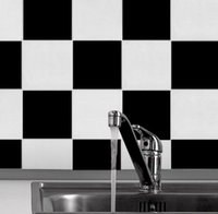 Removable black and white tile bathroom - Black and white tiles stickers kitchen waterproof wall wallpaper with moisture protection and tasteless gum