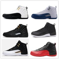 zapatos negros de los hombres franceses al por mayor-12s Classic 12 zapatos de baloncesto gamma azul francés taxi ovo alas de nylon negro juego de la gripe 12s US8-13 sol naciente cereza zapatillas de deporte mujeres hombres