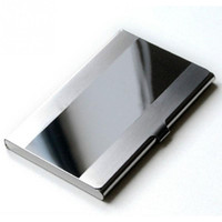 Wholesale Aluminium Credit Card Wallet Cases - Wholesale Waterproof Stainless Steel Silver Aluminium Metal Case Box Business ID Credit Card Holder Case Cover