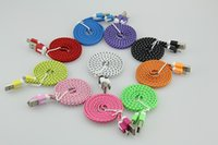 Wholesale Ipad Charger 3m - Wholesale 1M 2M 3M Colorful Noodle Flat Fabric Braided USB Sync Charger Cable Cord For iPhone 4 4S iPad 2 3 500pcs lot