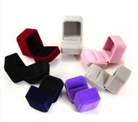 Wholesale Purple Necklace Display - 9 Colors Fashion Black Red Purple Grey Coffee Square Velvet Jewelry Earring Ring Necklace Package Display Case Box Holder