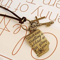 Wholesale One Direction Key - Wholesale-N192 Vintage Necklaces Men Women Cross Key Love Letters Necklace Leather Colar Shakespeare Fashion Jewelry Bijoux One Direction