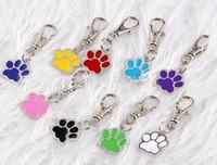 cartão esmalte venda por atacado-Vintage Silver Esmalte Dog Palm Imprimir Keychain Pet Dog Cat ID Cartão de etiquetas para chaves Car Bag Chave Anéis Handbag Casal Designer Chaveiro Jóias