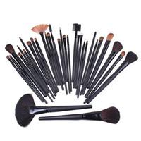 Wholesale Makeup Roll Case - Free Ship 32Pcs Professional Makeup Brushes make up Cosmetic Brush Set Kit Tool + Roll Up Case