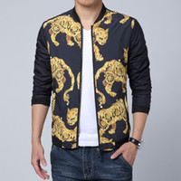 Wholesale leopard print jacket mens - Wholesale- New Design Flower Leopard Printing Jacket Men Fashion Slim Fit manteau homme Outer Motorcycle Mens jackets and coats Promotion