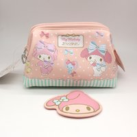 Wholesale Melody Case - 2017 News Cartoon Genuine My Melody Travel Cosmetic Bags Cases High Quality Pu Dot Fashion Make Up Bag Toiletry Bag Functional Bag