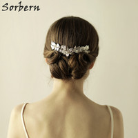 Wholesale Gold Flower Hair Comb - Sorbern Korean Style Bridal Headpieces Women Hairpin Female Rhinestone Beautiful Flower Hair Comb Tiara Bridal Hair Wedding Accessories