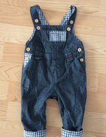 Wholesale Dhl Jeans - Baby Boys Girls Clothing Overalls Jeans Double Material American Style Autumn Winter Infant Children Kids Clothes By DHL
