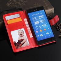 sony z3 case cover card großhandel-Luxus leder brieftasche flip case für sony xperia z3 z4 z5 case telefon rückseitige abdeckung kartenhalter stehen beste qualität