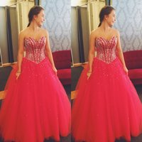 Wholesale Classic Inexpensive Dresses - 2017 Inexpensive Quinceanera Dresses Sweetheart Sleeveless Beads Crystals Sweet 16 Dresses Fuchsia Tulle Party Gowns Floor Length