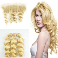 Wholesale Loose Wavy Russian Hair - #613 Loose Wave Full Lace Frontal With Bundles Blonde Russian Virgin Wavy Human Hair Weave With Ear to Ear Frontal Closure 4Pcs Lot
