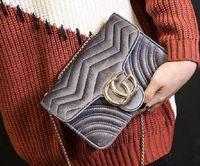 Wholesale Velvet Bags Multi Color - Marmont shoulder bags women luxury brand Suede Velvet chain crossbody bag handbags famous designer purse high quality female bag