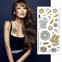 Wholesale Tattoo Sleeve Stencils - Wholesale- 5X Waterproof Feathers Temporary Tattoo Stickers Stencils For Painting Body Sleeve Hand Art Flash Glitter Metal Golden Tattoos