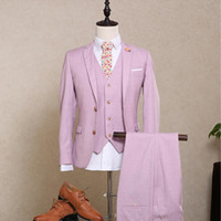 Wholesale Shiny Suits Sale - Wholesale- Hot Sale Mens Suit Blazer Groom Wedding Light Pink Tuxedo Flat Single Breasted Wool Shiny Dinner Party Prom Suits