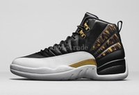 Wholesale Canvas Shoes Wings - Air Retro 12 Mens basketball shoes retro XII 12s WINGS in BLACK METALLIC GOLD-WHITE in top quality with free shipping