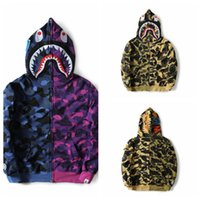 Wholesale Men S Cotton Stitching Jacket - 2017 Top Quality New Men Women Casual Shark Hoodie Blue Purple Camouflage Stitching Hoodies Men Embroidery Sweatshirt Jacket Tops