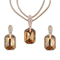Wholesale Champagne Crystal Jewelry - 2017 new necklace jewelry, high quality gold plated fashion Rose Gold Pendant Necklace champagne crystal jewelry 005-114